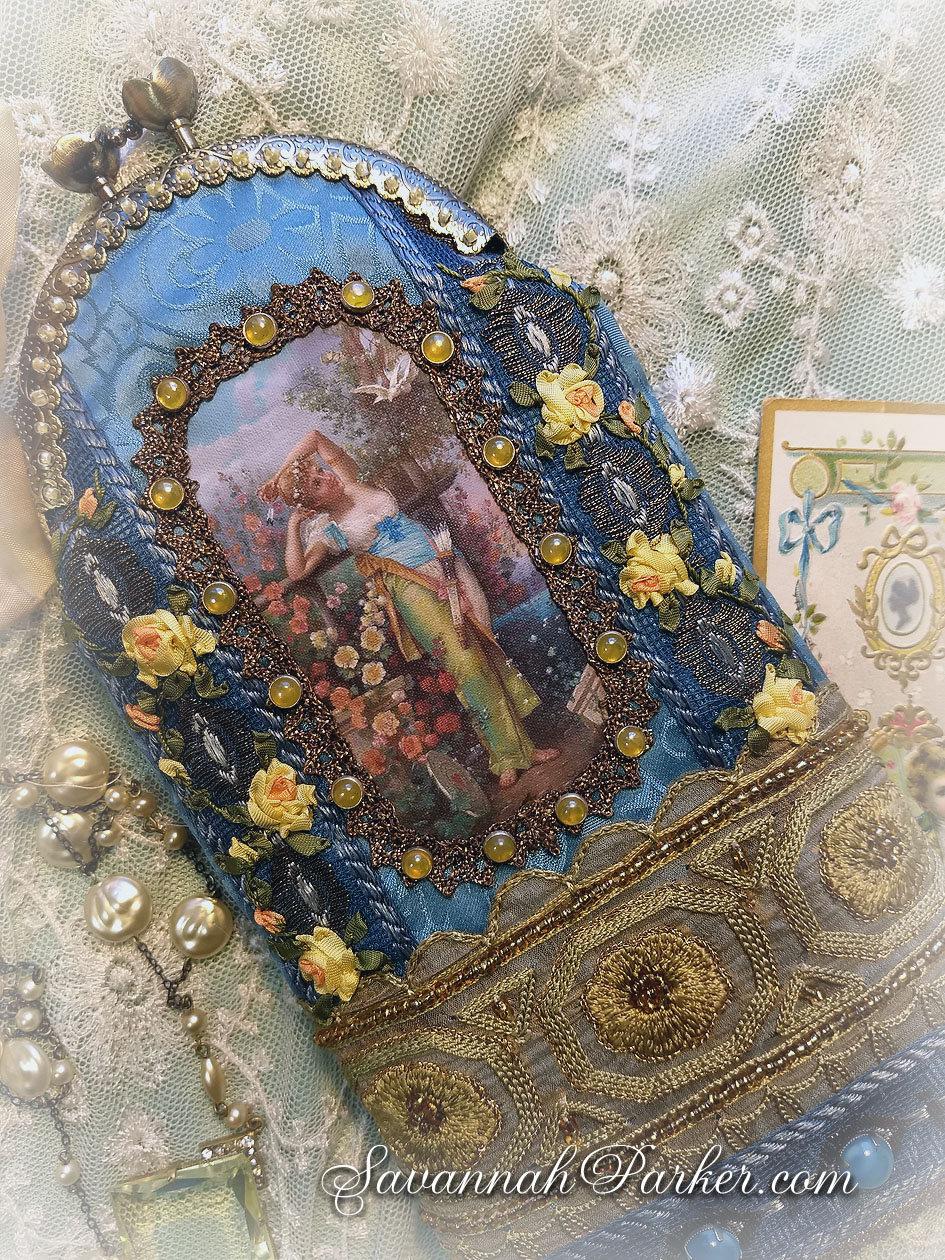 detailed look 6c7a8 b869f Fabulous Handmade Art Nouveau Silk Ribbonwork Jeweled Cell ...