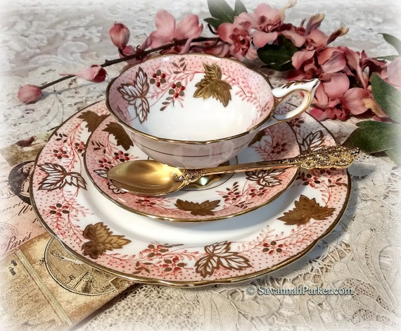 "Exquisite Vintage Royal Stafford ""Leaf Berry"" Handpainted Coral Pink and Heavy Gold Vintage Bone China Tea Trio, Cup, Saucer, Luncheon Plate"