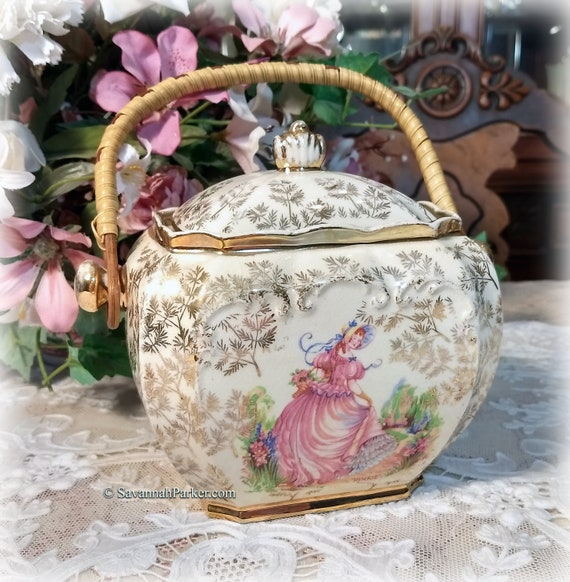 "Lovely RARE Vintage 1930's Sadler ""Pinkie"" Large Cube Shape Biscuit Barrel or Tea Caddy, Gold Chintz, Shabby Chic Decor"