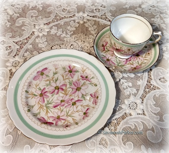 Pretty Vintage Tuscan Bone China Tea Trio, Cup, Saucer, Luncheon Plate, Mint Green and Pink Hand Painted Pattern