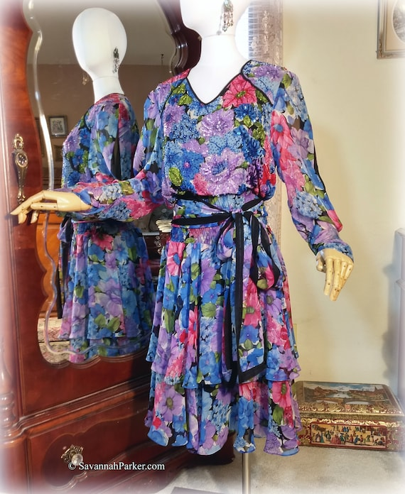 Flirty Beaded Vintage 70s-80s Silk / Designer Diane Freis / Vivid Florals Party Dress / Two Tiered Skirt / Silk Georgette