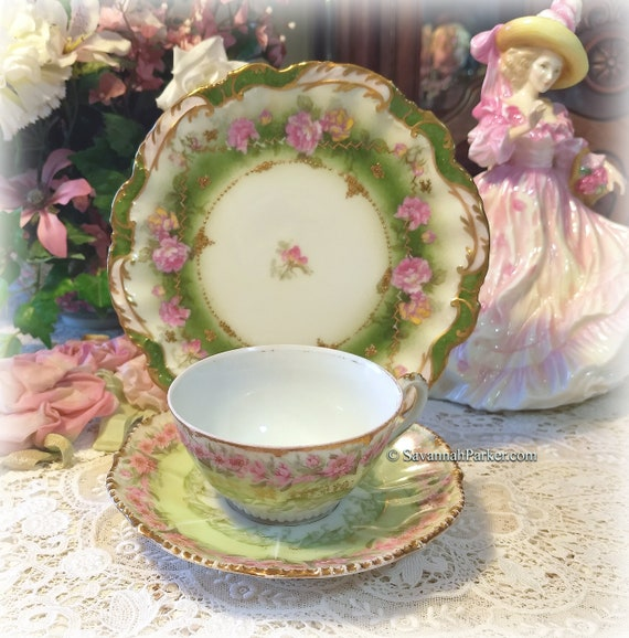 Pretty Antique Limoges France Green Pink and Gold China Tea Trio, Cup, Saucer, Luncheon Plate ~ Hand Applied Gold ~ Shabby Chic