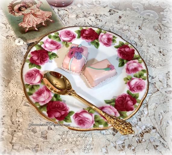 "Set of 2 Royal Albert Vintage Bone China 8"" Dessert Plates, Pink and Red Old English Rose Pattern, Handpainted Gold Gilding"