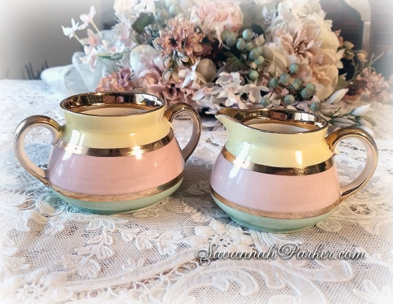 So Pretty Ice Cream Pastels and Gold Vintage Gibsons England 2 pc Sugar and Creamer Set in Pink, Mint and Lemon, Shabby Chic Decor
