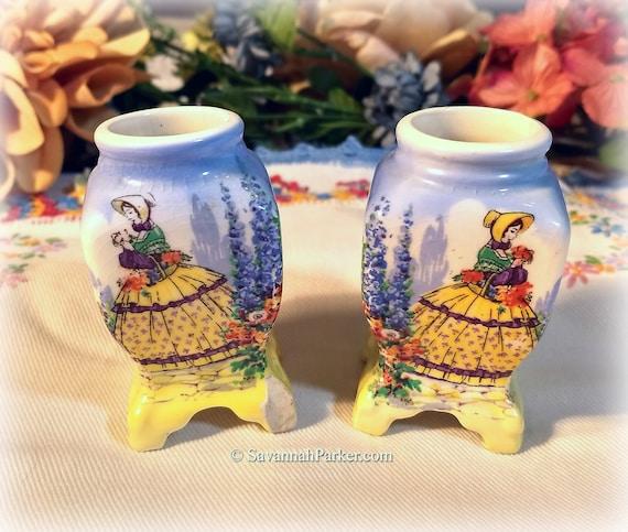RARE Fab Vintage Crinoline Lady China Lancaster Sandland England Pair of Candle Holders, Vivid Colors, Shabby Chic Decor