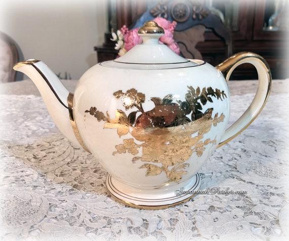 Exquisite Ivory Shimmering Gold Lustre Roses Vintage Sadler England Teapot, Handpainted, Shabby Chic Decor