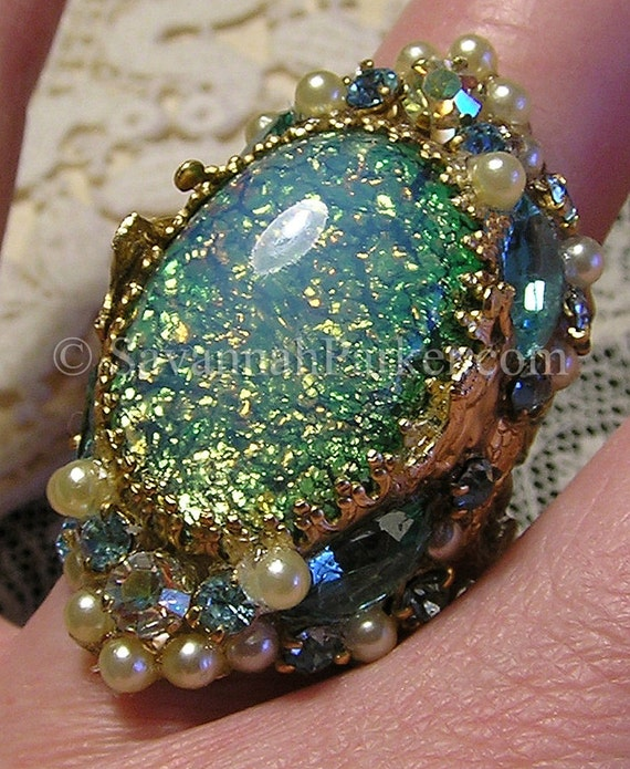 Antique Style Victorian Art Nouveau MERMAIDS Ring - Aqua-Green Glass Fire Opals Jewels - Mermaid Jewelry -Mermaid Ring