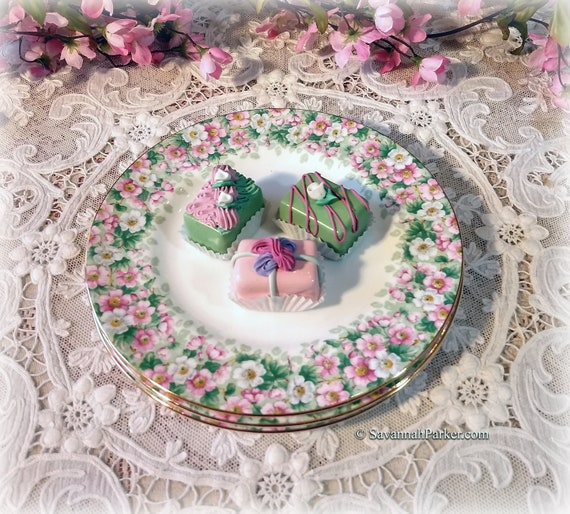 """Wonderful Vintage Crown Staffordshire Maytime 8.25"""" Dessert/Luncheon Plates, Pink and Green Apple Blossoms, Price per Plate"""