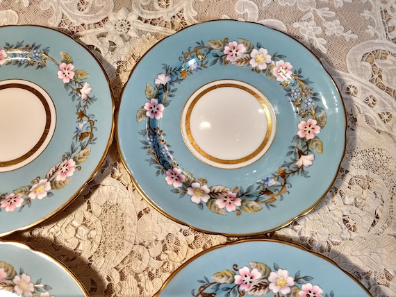 """Fabulous Very Rare Vintage Set of 4 Blue Royal Stafford Garland 8"""" Plates, Exquisite Colors, Handpainted, Heavy Gold Applied Gilding"""