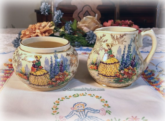 SADLER Vintage Crinoline Lady China England 2 pc Sugar Bowl and Creamer, Gold Lustre Chintz, Southern Belles, Shabby Chic Decor