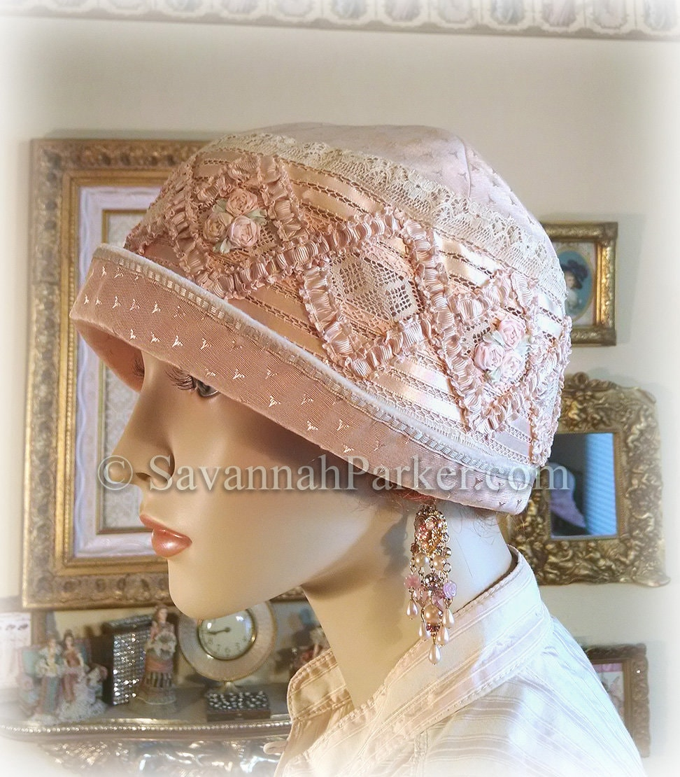 101425ca29adef Antique Style 1920s Gatsby Flapper Hat Ribbonwork Downton Abbey ...