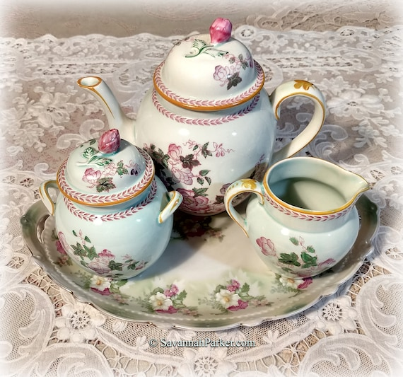 Beautiful 20s Vintage Adams Calyx Ware Metz Tea Set, Hand Painted Mint Green, Pink, Teapot, Creamer, Sugar Bowl, Antique MZ Austria Tray