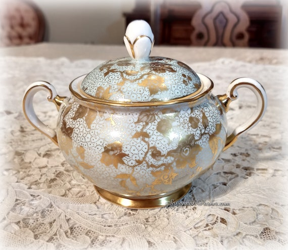 Lovely Lacy Mint and Glowing Gold Vintage Tuscan Bone China England 2 pc Covered Sugar Bowl, Shabby Chic Decor
