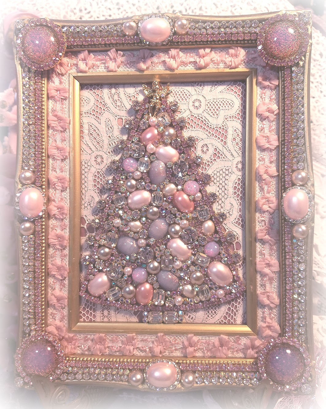 Exquisite Jeweled Pink Christmas Tree Picture Vintage Jeweled Frame
