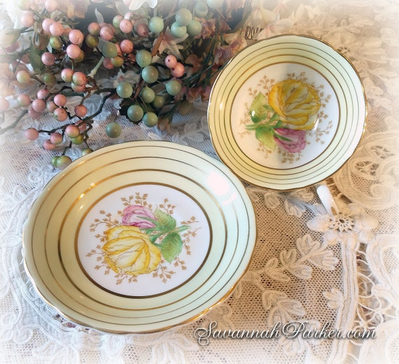 Exquisite Pale Yellow Vintage English Bone China Set, Victoria C and E Bone China, Cup, Saucer, Handpainted Flowers, Shabby Chic Deco
