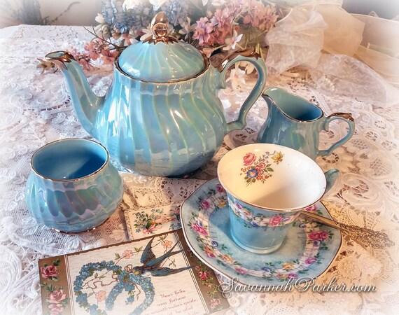MINT Iridescent Blue Pearl Lustre Vintage Sadler 3 PC Tea Set, Handpainted, Swirl Pattern, Shabby Chic Decor, Sadler Tea Pot, Creamer, Sugar