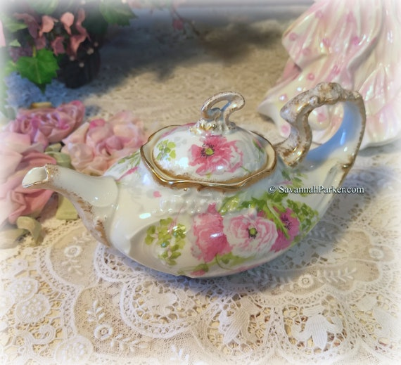 Charming Small Antique French J. Pouyat Limoges Tea for One Teapot, Handpainted, Lantern Shape, Shabby Chic Decor