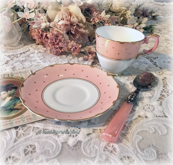 Lovely Unusual Peach-Pink with Gold Dots Vintage Crown Staffordshire English Bone China Set, Cup and Saucer, Shabby Chic