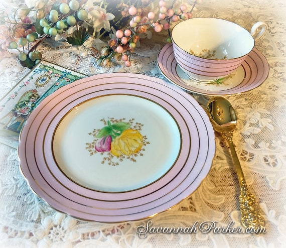 Exquisite Pink Vintage Bone China Tea Trio, Victoria C and E Bone China, Cup, Saucer, Luncheon Plate, Handpainted Flowers, Shabby Chic Decor