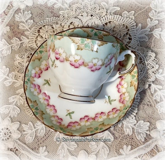 Lovely Green and Pink Vintage Plant Tuscan English Bone China, Cup, Saucer, Handpainted Flowers, Shabby Chic Deco Cottage