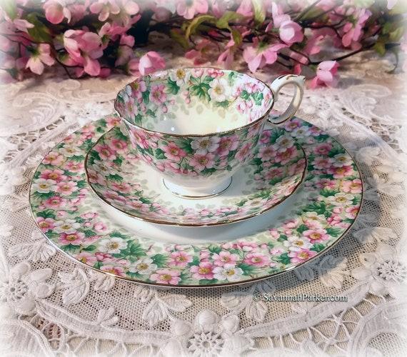 "Exquisite Vintage Crown Staffordshire ""Maytime"" Pink and Green Appleblossoms Bone China Tea Trio, Bridal Shower Wedding Gift"