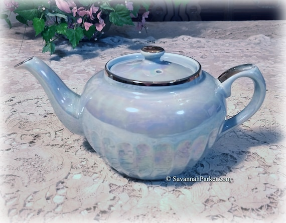 Iridescent Vintage Sadler England Blue Lustre Teapot, Handpainted, Shabby Chic Decor, Cottage Chic