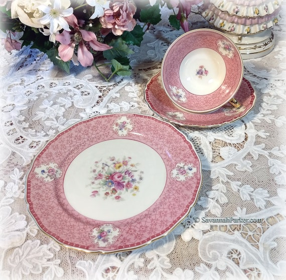 Beautiful Vintage Seltmann Weiden Bavarian China Pink Tea Trio, Cup, Saucer, Luncheon Plate, Shabby Chic Cottage Decor