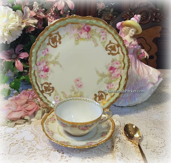 Beautiful Antique Limoges France Green and Pink w Applied Gold China Tea Trio, Cup, Saucer, Luncheon Plate ~ Handpainted ~ Shabby Chic