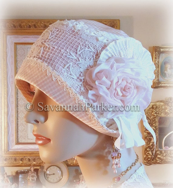 Antique Style 1920s Gatsby Flapper Hat Downton Abbey Silk Summer Cloche Hat - Ready to Ship - SMALL Hat - Ribbonwork - Handmade Silk Flower