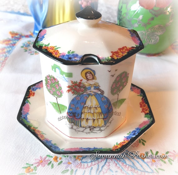 Exquisite RARE Vintage 1930's H and K Tunstall Crinoline Lady 2 pc Jam Pot w lid, Vivid Colors, Southern Belles, Handpainted, Bohemian Decor
