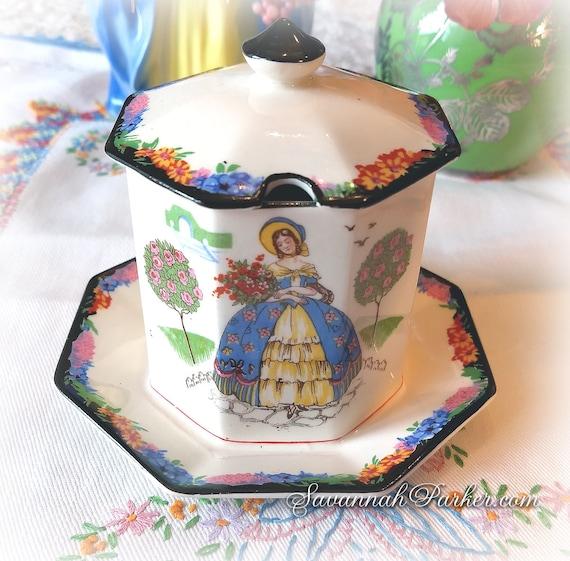 Exquisite RARE Vintage 1930's H and K Tunstall Crinoline Lady 2 pc Jam Pot w lid, Vivid Colors, Southern Belles, Handpainted, Bohemian Decor