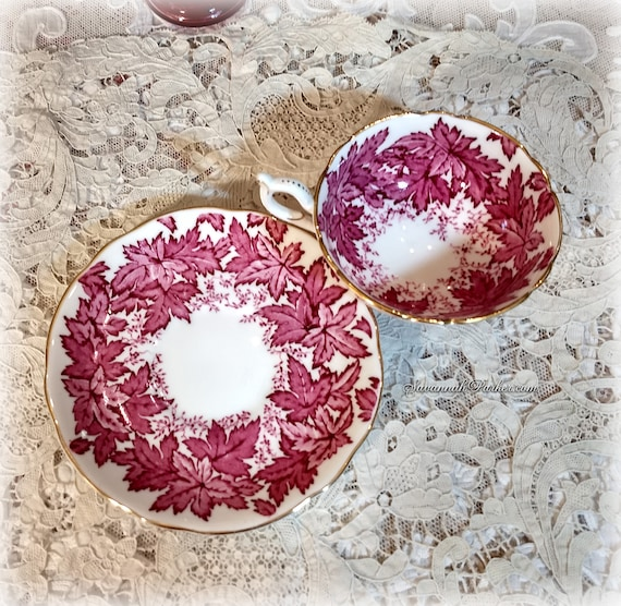Lovely Coalport Vintage English Bone China Set, Rose-Red Maple Leaves, Cup and Saucer, Handpainted Flowers, Shabby Chic Deco