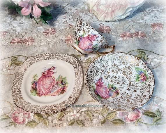 Lovely Vintage PINKIE Crinoline Lady English Bone China Tea Trio with 22KT Gold, Bridal Shower Wedding Gift, Shabby Chic Cottage Decor