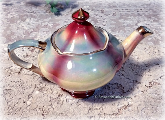 RARE Iridescent Vintage Royal Winton Grimwades England Rainbow High-Lustre Teapot, Art Deco, Shabby Chic Decor, Cottage Chic