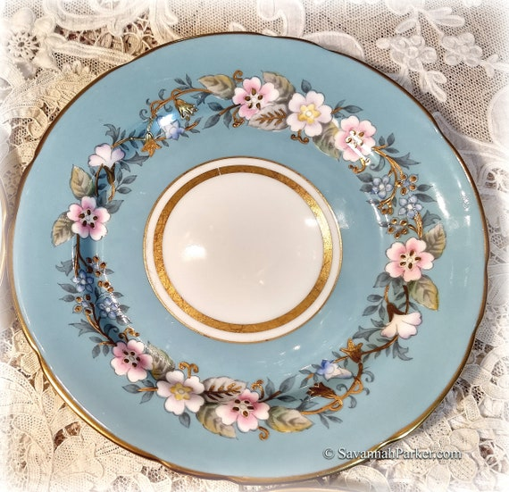 """Fabulous Very Rare Vintage Blue Royal Stafford Garland 8"""" Plate, Exquisite Colors, Handpainted, Heavy Gold Applied Gilding, Price per Plate"""