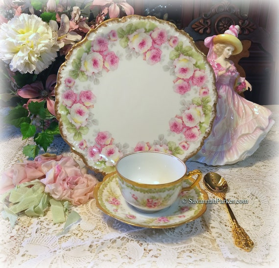 Antique Exquisite Limoges France Big Pink Roses and Applied Gold China Tea Trio, Cup, Saucer, Luncheon Plate ~ Shabby Chic Cottage Chic