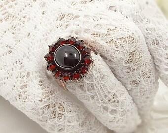 Wonderful oval Vintage garnet ring in Victorian style size 7  F191028