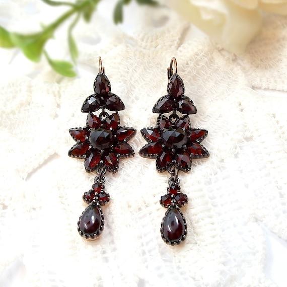 Aureate Vintage star chandelier garnet earrings in