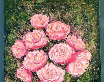 Peonies wall art - floral art - pink floral art - pink peonies - garden painting - pink green wall art - original painting