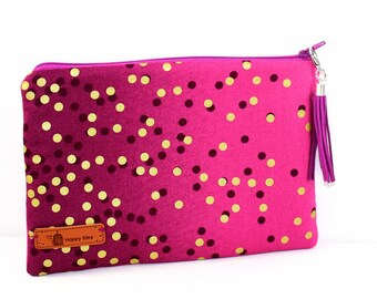 2c581e0589 Cotton Zip Bag in Pinks dark to light with shimmer gold dots with deep  maroon dots with zip and tassel