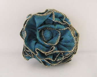 Ribbon Rose Pin-Hair Clip-Brooch-Blue-Teal-Green-Gold