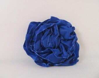 Ribbon Rose Pin-Hair Clip-Brooch-Blue-Royal Blue