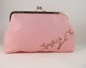 Pink Clutch Purse-Purse-Handbag-Kisslock-8 inch-Cherry Blossom Clutch