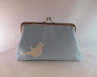 Robin's Egg Blue Bird Clutch Purse-Clutch-Purse-Handbag-Kisslock-8 inch