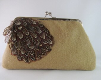 Brown Feathered Clutch Purse-Purse-Handbag-Kisslock-8 inch-Fall clutch