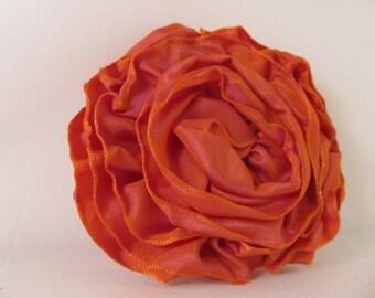 Ribbon Rose Pin-Hair Clip-Brooch-Orange-Irridescent