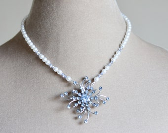 Crystal Brooch Pearl Bridal Necklace, Blue, Bridal Necklace, Brooch Necklace, Pearl Statement Necklace, Silver, Chantilly Collection