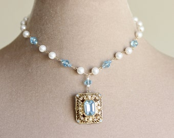 Crystal Pendant Wedding Set, Aqua, Wedding Set, White, Pearl Necklace, Bridal Necklace Set, Statement Necklace, Gold, Chantilly Collection