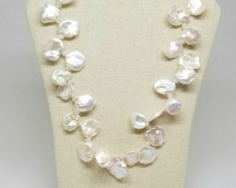 Large Keishi Pearl Necklace, Natural White, Pearl Moonstone Necklace, Hawaiian Style Pearls, Cornflake Pearls Necklace, 20 inch