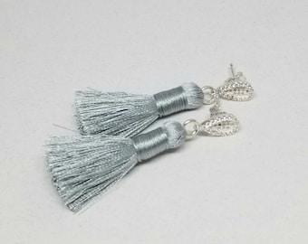 Silver Tassel Earrings, Sterling Silver and Grey Silk Tassel Earrings, Silk Tassel Boho Earrings, Tassel Micro Pave Crystal Drop Earrings